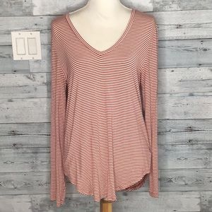 OLD NAVY NEUTRAL STRIPED VEE TOP